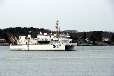 NOAA Ship Ferdinand Hassler heads out to survey.