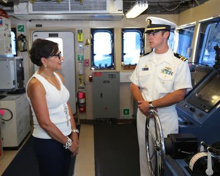 Secretary Pritzker and LCDR Jaskoski