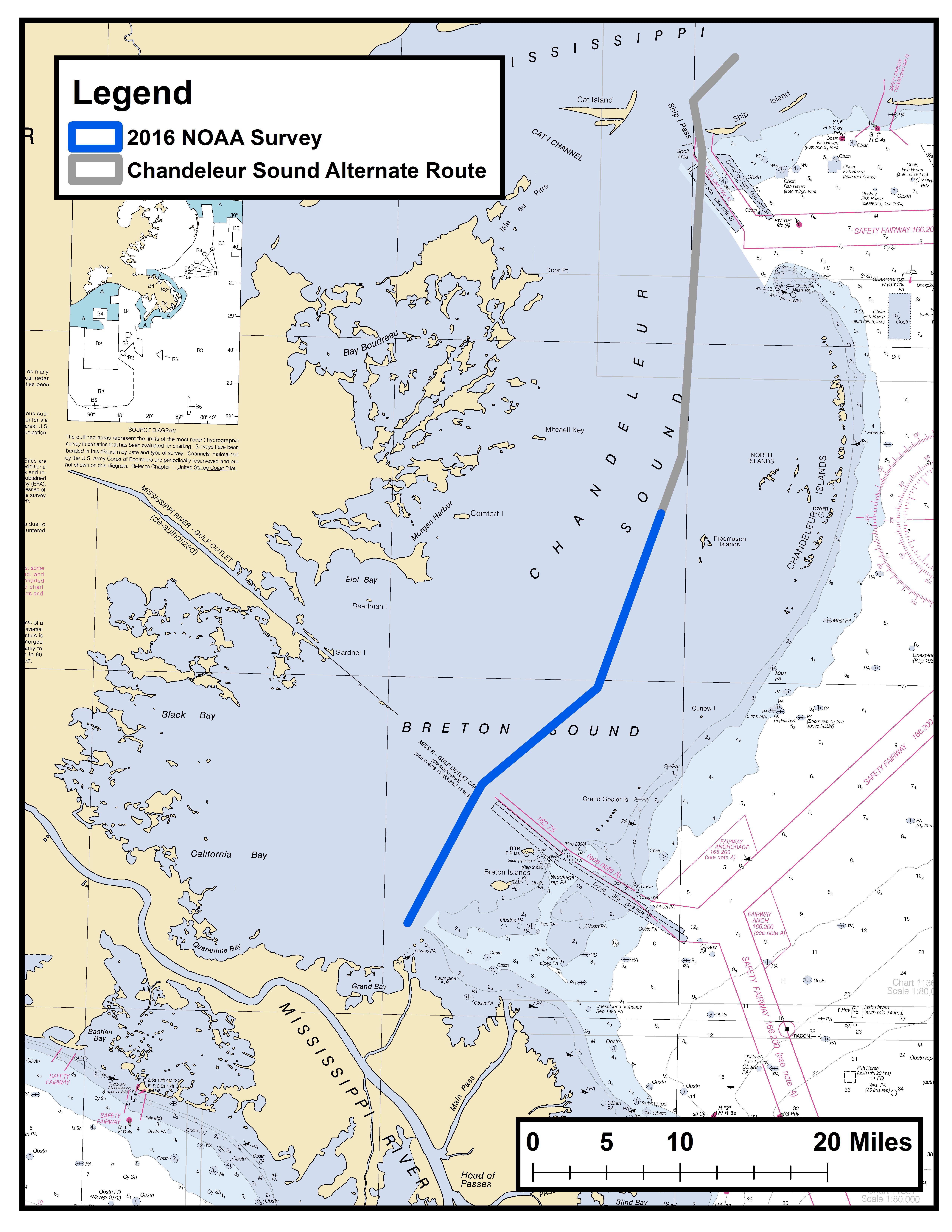 NOAA survey Chandeleur Sound Alternate Route