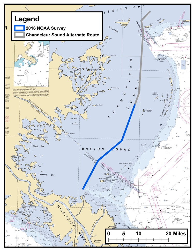 NOAA survey Chandeleur Sound Alternate Route