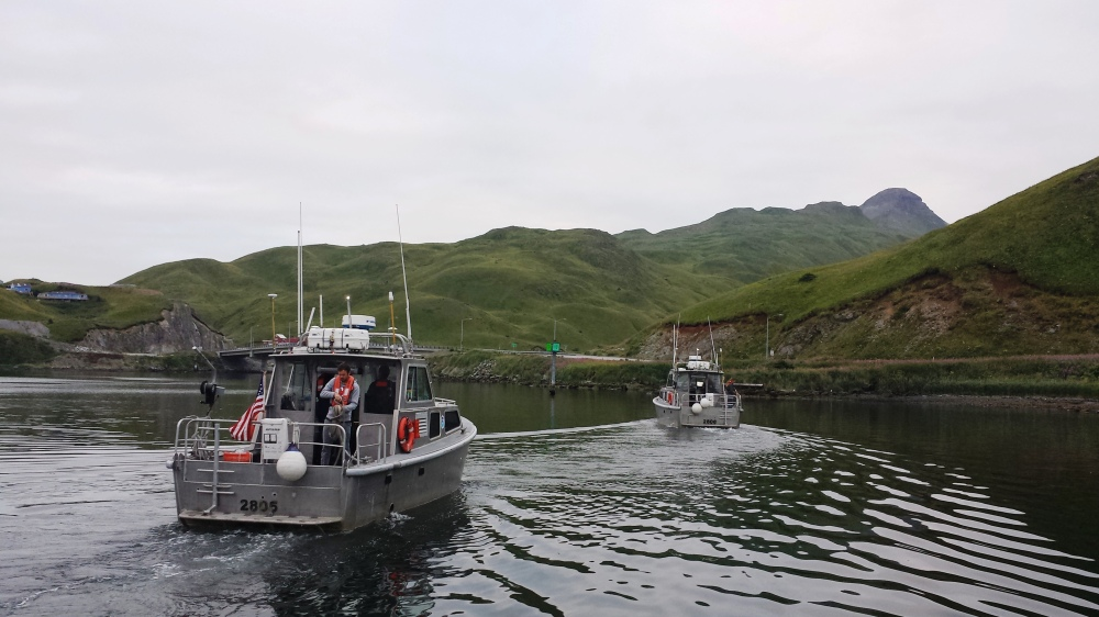 Two of the NOAA Ship Fairweather launches depart for a day of hydrographic surveying