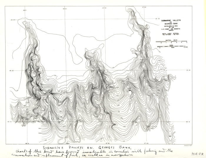 C&GS map of submarine valleys on Georges Bank, 1932