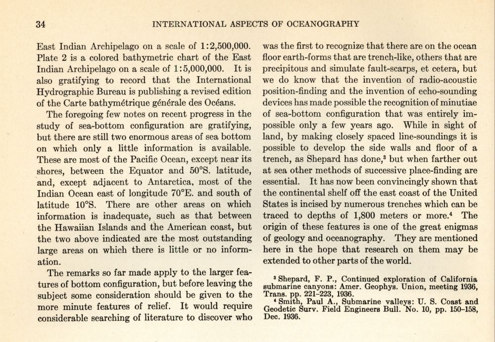 """This excerpt from International Aspects of Oceanography, a National Science Foundation publication, was written by Wayland Vaughn of the Scripps Institution of Oceanography in 1937. He describes the contribution of both echo-sounding and the navigation system termed """"radio-acoustic ranging"""" to the mapping of the seafloor. C&GS developed RAR and used it to survey U.S. continental margins in the 1930s."""