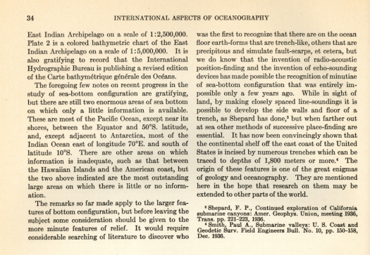 "This excerpt from International Aspects of Oceanography, a National Science Foundation publication, was written by Wayland Vaughn of the Scripps Institution of Oceanography in 1937. He describes the contribution of both echo-sounding and the navigation system termed ""radio-acoustic ranging"" to the mapping of the seafloor. C&GS developed RAR and used it to survey U.S. continental margins in the 1930s."