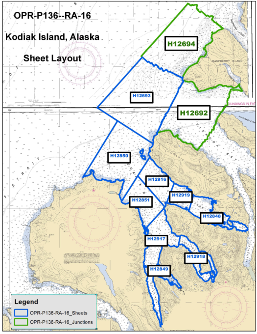 Rainier completed project areas H12916, H12919, and H12848 in the spring. They are now surveying H12693 south through H12849 and H12918.
