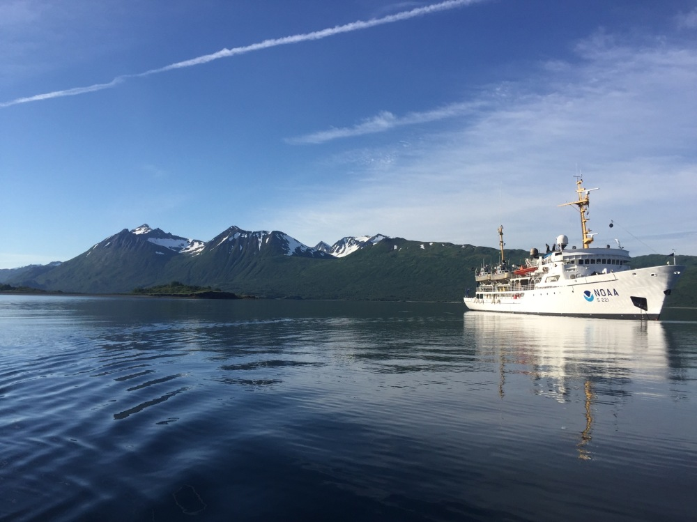 NOAA Ship Rainier at anchor, in Uganik. Photo by Ensign Dylan Kosten