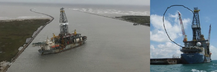 Left: A large drill ship broke loose from the port during Hurricane Harvey, losing a 90-foot steel crane boom. Using multibeam and sidescan sonar, NRT 2 found the boom. This image also shows the large jetties framing the pass. Right: Image of the large steel crane boom attached to the ship prior to the storm.