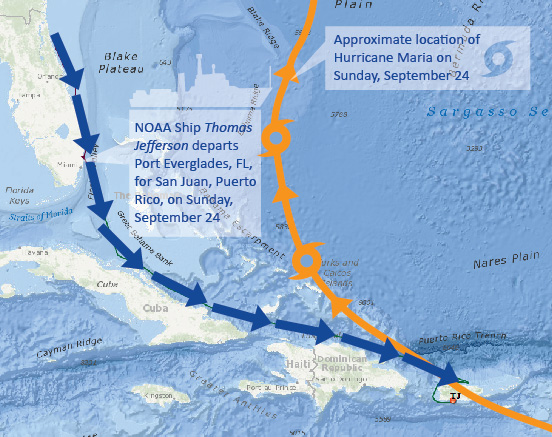 Route taken by NOAA Ship Thomas Jefferson to Puerto Rico. To avoid weather and rough seas from Hurricane Maria, Thomas Jefferson traveled along the leeward side of the Bahama Escarpment.