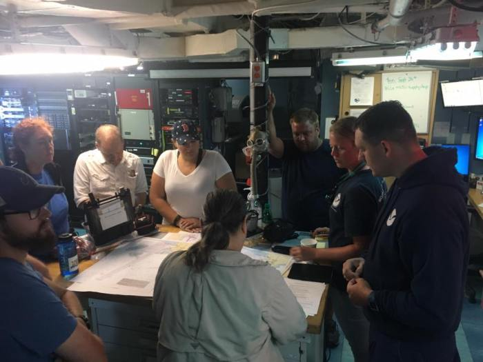 NOAA Ship Thomas Jefferson survey team gathers to brief the hydrographic survey plan for Ponce Harbor, a major port on the southern side of the Puerto Rico.