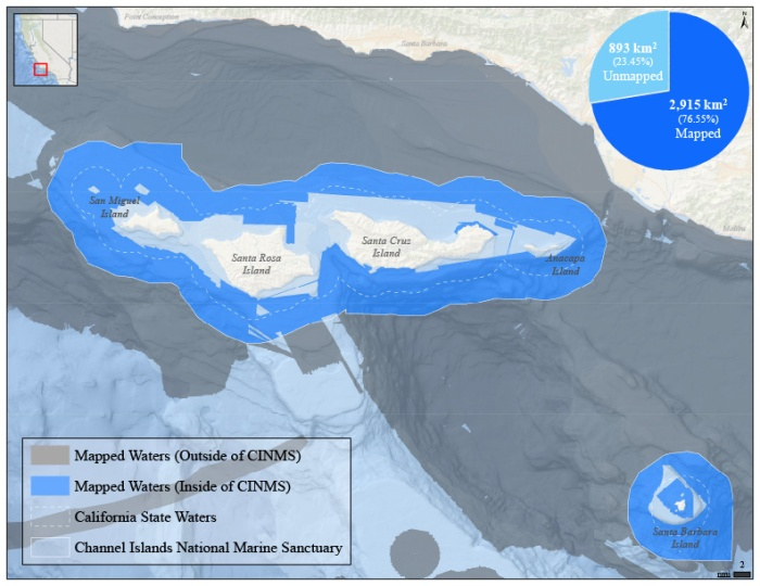 Geographic extent of mapped waters within the Channel Islands National Marine Sanctuary boundary.