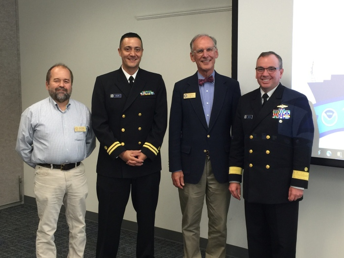Mark Kontio, Maine staff assistant for Congressman Bruce  Poliquin, Lt. David Vejar, northeast navigation manager, Chris  Rector, regional representative for Senator Angus King,  Rear Adm. Shep Smith, director of Office of Coast Survey at the stakeholder meeting in Maine.