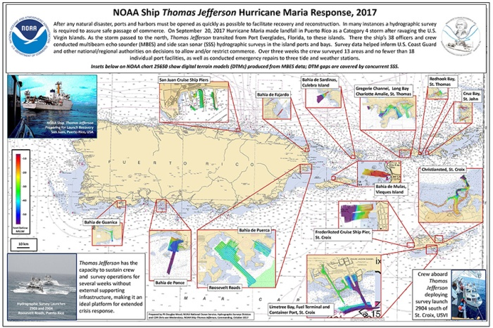 Poster of NOAA Ship Thomas Jefferson's response efforts following Hurricane Maria.