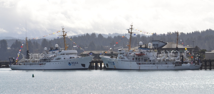NOAA ships Rainier and Fairweather.