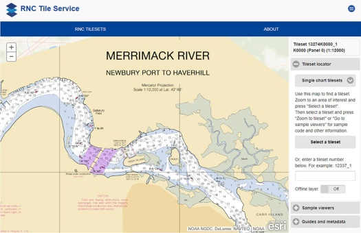 The Merrimack River, located in Massachusetts, is just south of the New Hampshire border.The single chart tile set is named 13274K0000_1.