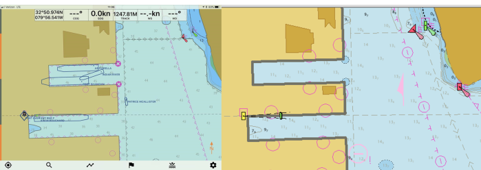 """The 190-meter bulk carrier """"Port Shanghai"""" using the recently extended portion of Slip 2 before the ENC was updated (left image), making it appear as though the vessel bow has grounded. After the ENC update, the change in the slip length was reflected in ENC cell US5FL32 and US4FL31 (right image). Credit: NOAA"""