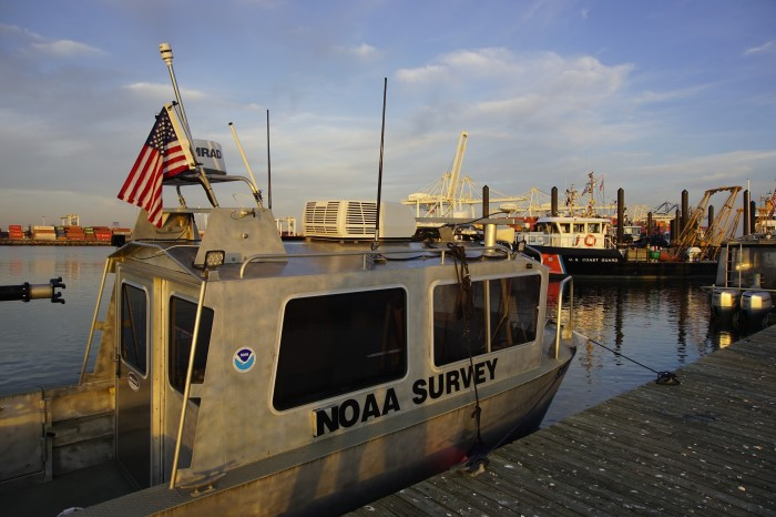 During NRT5's responses in areas surrounding the New York Harbor, the USCG Aids to Navigation Team (ANT) in Bayonne, New Jersey, offered the team a spot to dock their vessel at the end of the day. This sheltered station provided safety from poor weather conditions and allowed the team to quickly transit to project areas. Here, NOAA survey vessel S3007 is moored alongside at the USCG station.