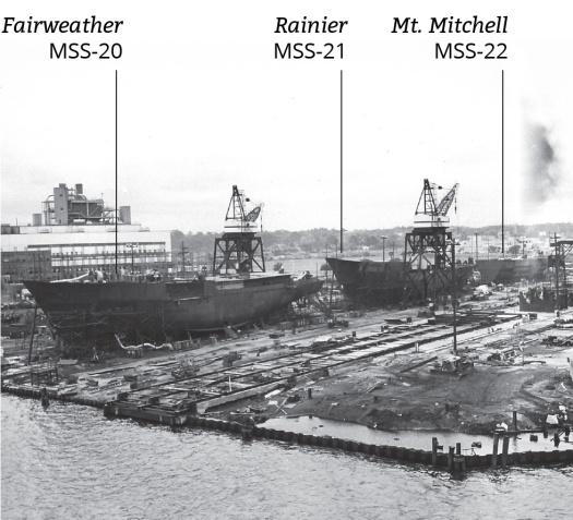 NOAA ships Fairweather, Rainier, and Mt. Mitchell under construction.