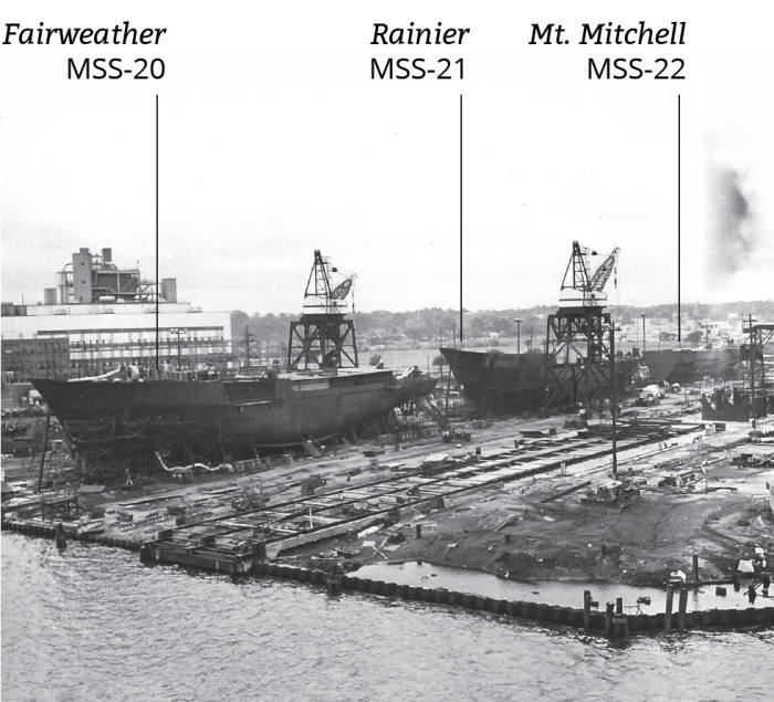NOAA ships Fairweather, Rainier, and Mt. Mitchell under construction.