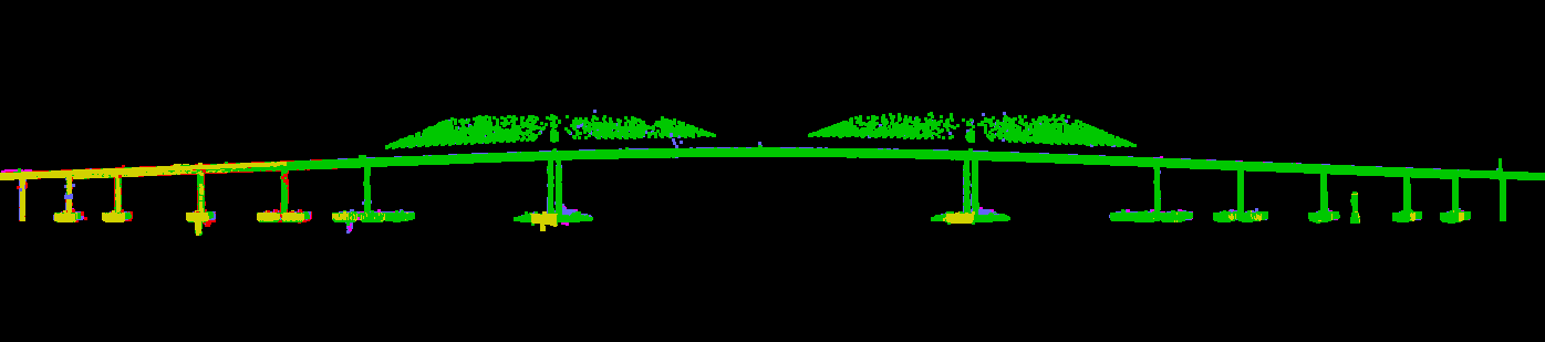 The center spans of the Sunshine Skyway Bridge (left) were successfully captured from lidar data (right). Photo credits: NOAA