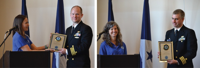 NOAA Teacher at Sea Alumnus Lisa Battig presents a plaque honoring NOAA Ship Fairweather to Cmdr. Mark Van Waes, commanding officer of the ship (left). NOAA Teacher at Sea Alumnus Denise Harrington presents a plaque honoring NOAA Ship Rainier to Cmdr. Ben Evans, commanding officer of the ship (right).