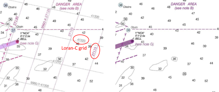 The entrance to the Chesapeake Bay, Chart 12221, with a Loran-C grid on the 2009 edition (left) and without Loran-C (right).