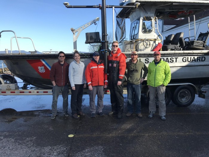The MIST and USCG survey crew. Tim Wilkinson (NRT3, far left),Erin Diurba (NRT4, second from left), Alex Ligon (NRT1, second from right) and Mike Annis (HQ, far right) represented Coast Survey.