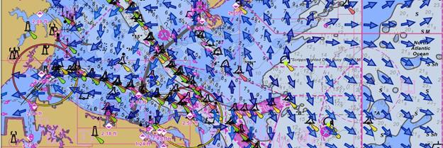 Rose Point's Coastal Explorer displays NOAA surface current data.