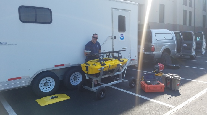 Lt j.g. Patrick Debroisse readies the Echoboat ASV for hydrographic survey