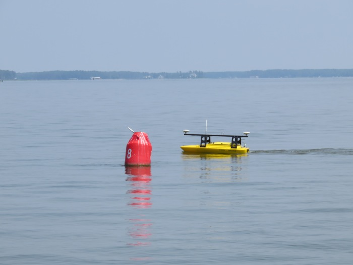 Echoboat ASV surveys in the Pocomoke River Channel to investigate possible shoaling.