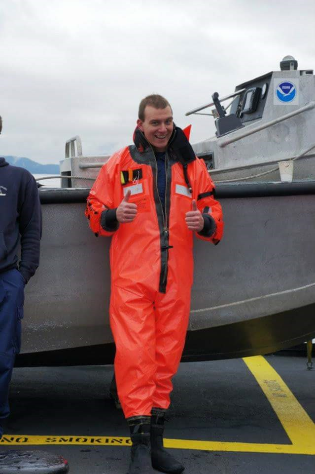 Lt. Bart Buesseler dressed in an immersion suit (also called a gumby suit) following a man overboard drill on NOAA Ship Rainier in Whale Pass, Alaska.