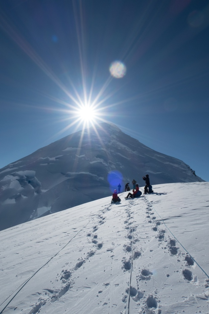 Climbers look to the summit of Mount Fairweather.
